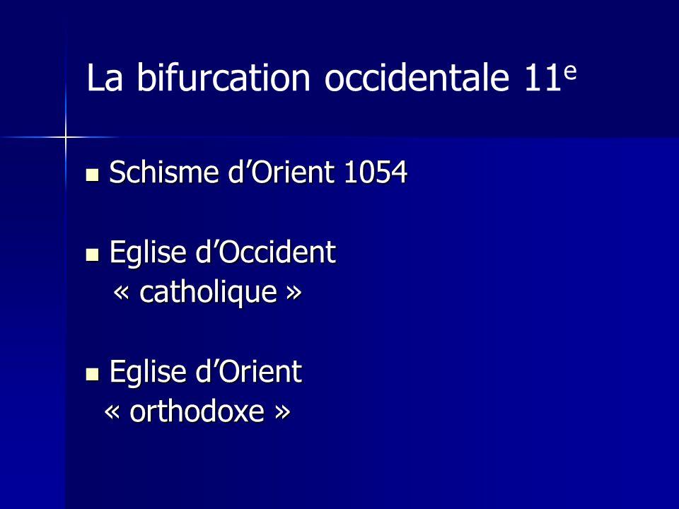 La bifurcation occidentale 11 e Schisme dOrient 1054 Schisme dOrient 1054 Eglise dOccident Eglise dOccident « catholique » « catholique » Eglise dOrient Eglise dOrient « orthodoxe » « orthodoxe »