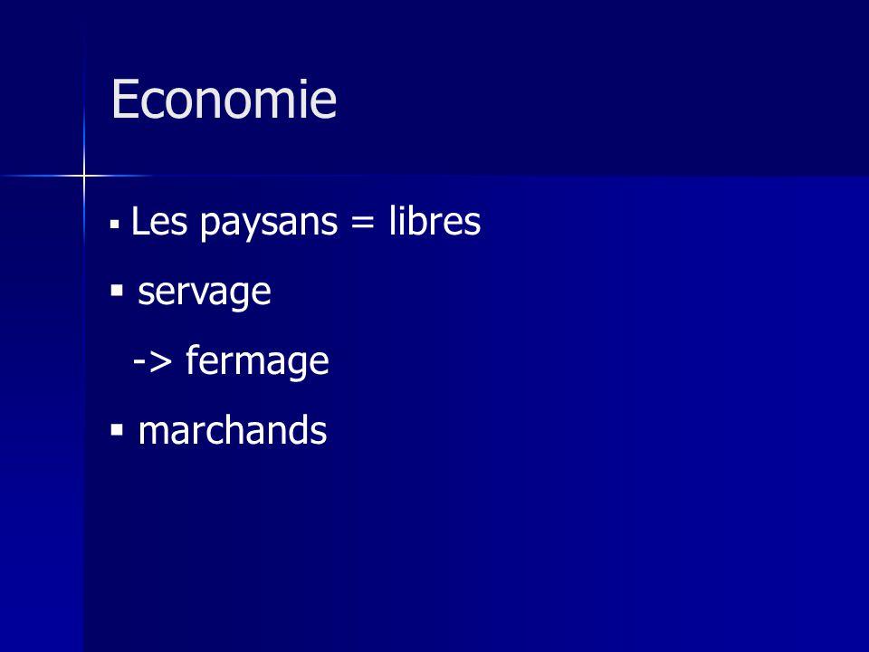 Les paysans = libres servage -> fermage marchands Economie