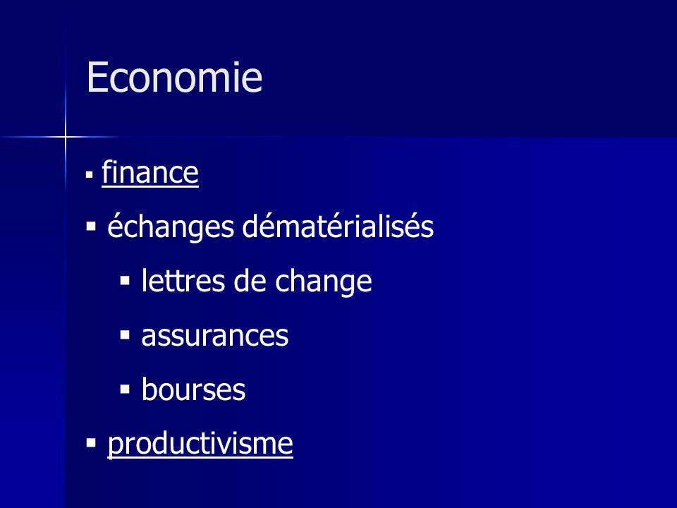 finance échanges dématérialisés lettres de change assurances bourses productivisme Economie