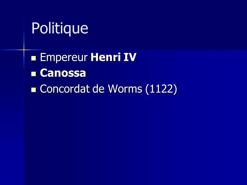 Empereur Henri IV Empereur Henri IV Canossa Canossa Concordat de Worms (1122) Concordat de Worms (1122) Politique
