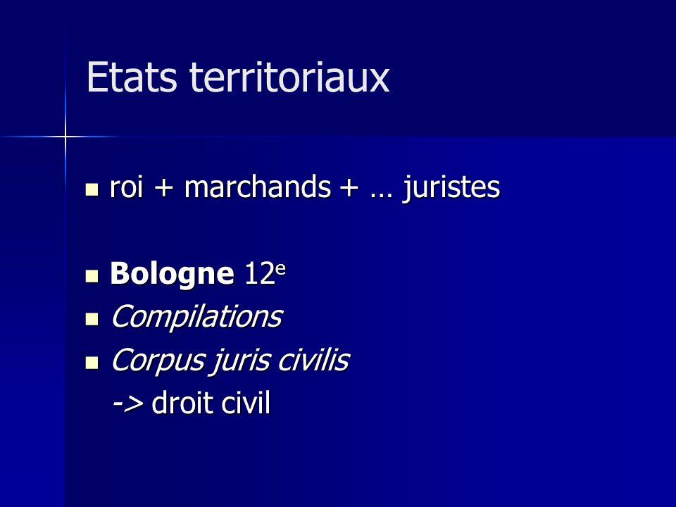 roi + marchands + … juristes roi + marchands + … juristes Bologne 12 e Bologne 12 e Compilations Compilations Corpus juris civilis Corpus juris civilis -> droit civil Etats territoriaux