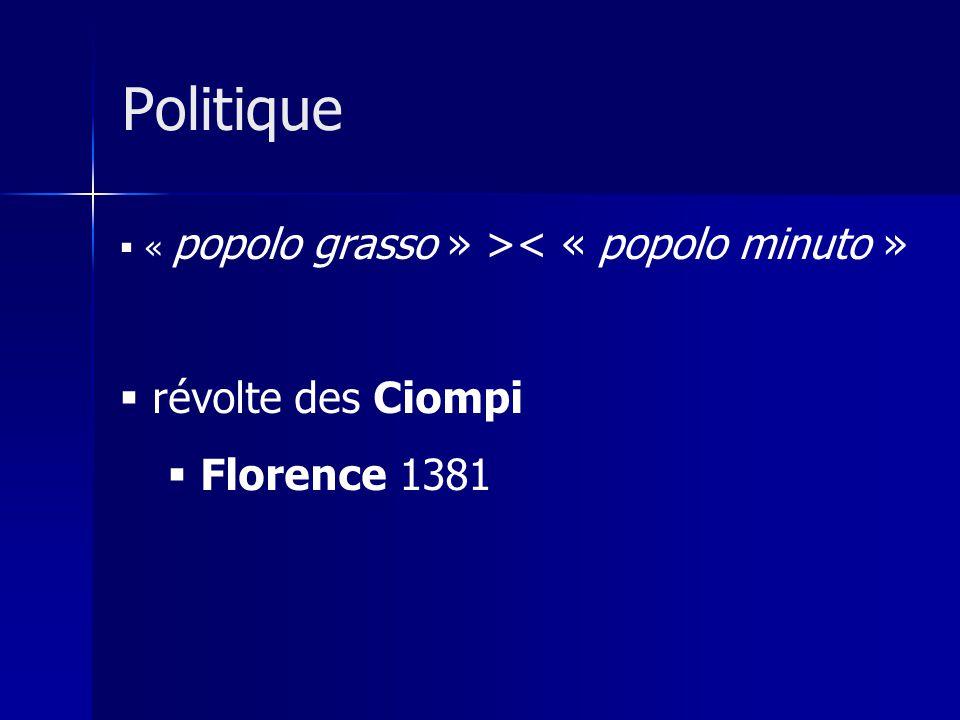 « popolo grasso » >< « popolo minuto » révolte des Ciompi Florence 1381 Politique