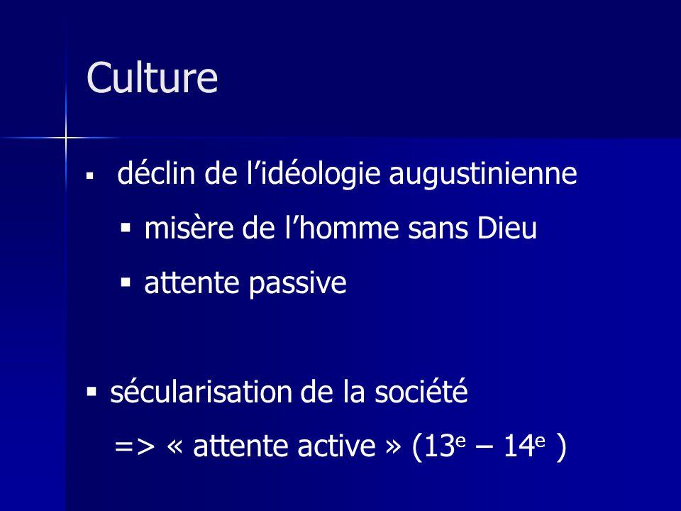 déclin de lidéologie augustinienne misère de lhomme sans Dieu attente passive sécularisation de la société => « attente active » (13 e – 14 e ) Culture