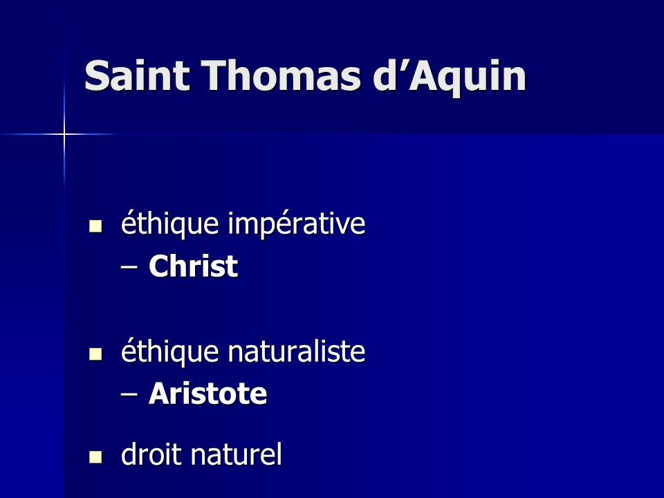 éthique impérative éthique impérative –Christ éthique naturaliste éthique naturaliste –Aristote droit naturel droit naturel Saint Thomas dAquin
