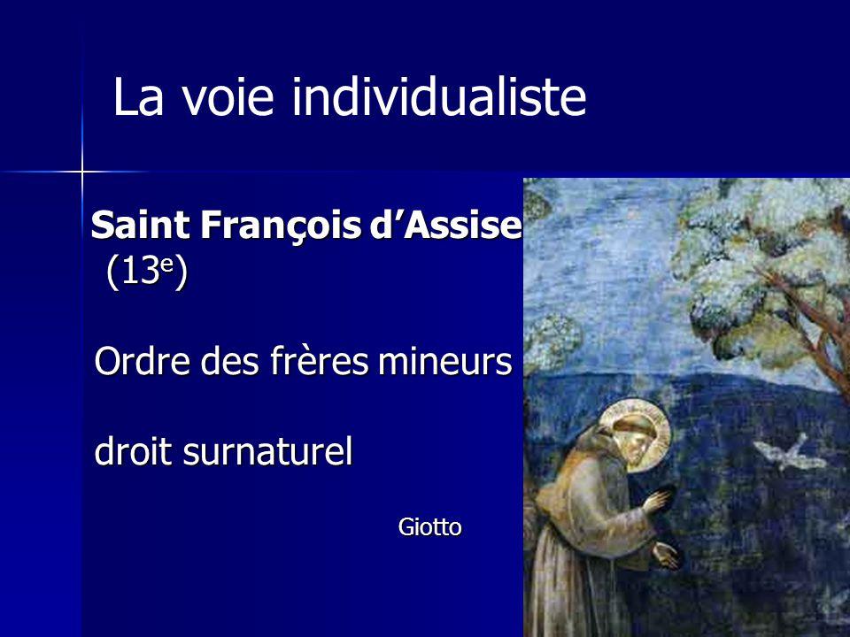 La voie individualiste Saint François dAssise (13 e ) (13 e ) Ordre des frères mineurs Ordre des frères mineurs droit surnaturel droit surnaturelGiotto