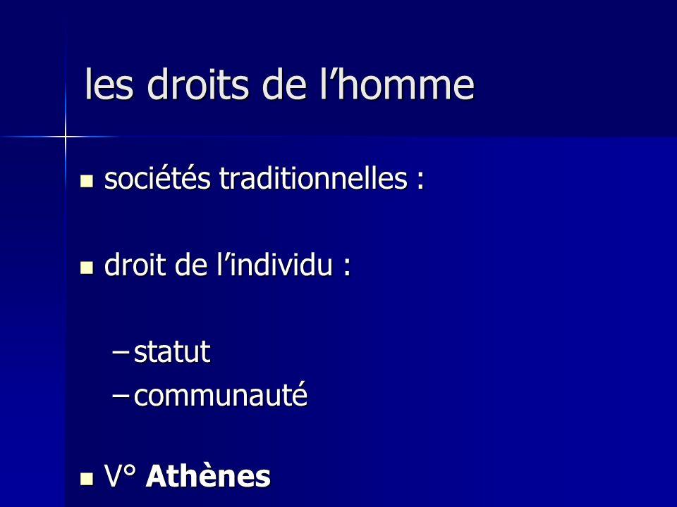 sociétés traditionnelles : sociétés traditionnelles : droit de lindividu : droit de lindividu : –statut –communauté V° Athènes V° Athènes les droits de lhomme
