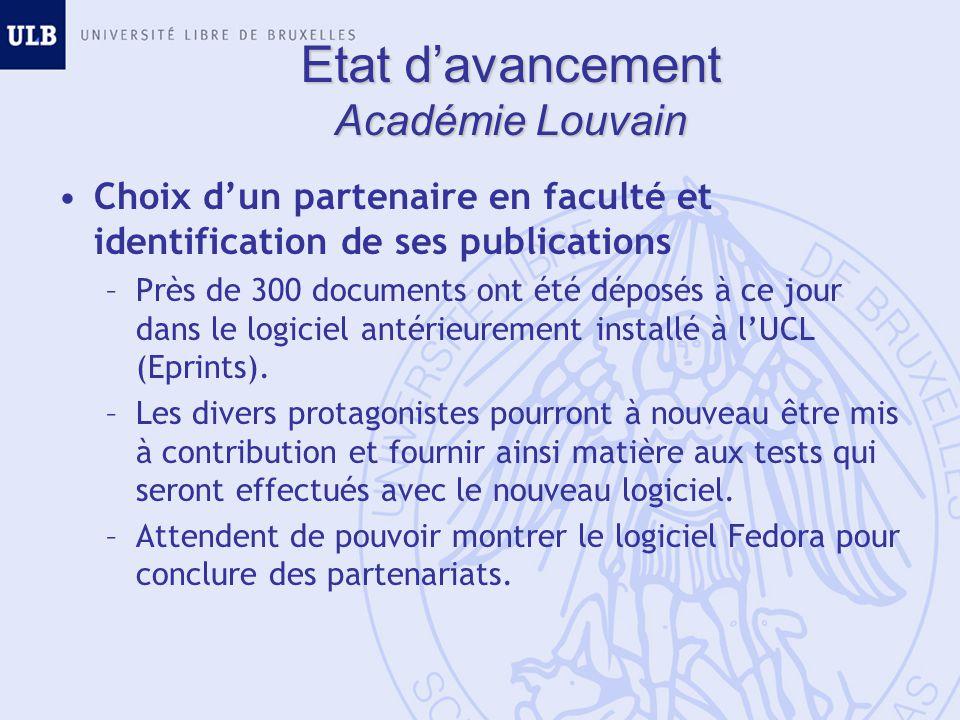 Etat davancement Académie Louvain Choix dun partenaire en faculté et identification de ses publications –Près de 300 documents ont été déposés à ce jo