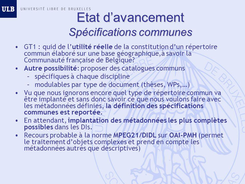 GT1 : quid de lutilité réelle de la constitution dun répertoire commun élaboré sur une base géographique,à savoir la Communauté française de Belgique.