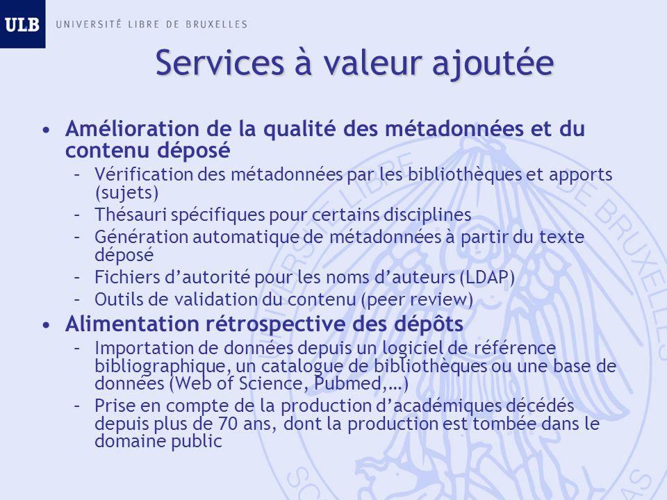 Amélioration de la qualité des métadonnées et du contenu déposé –Vérification des métadonnées par les bibliothèques et apports (sujets) –Thésauri spéc