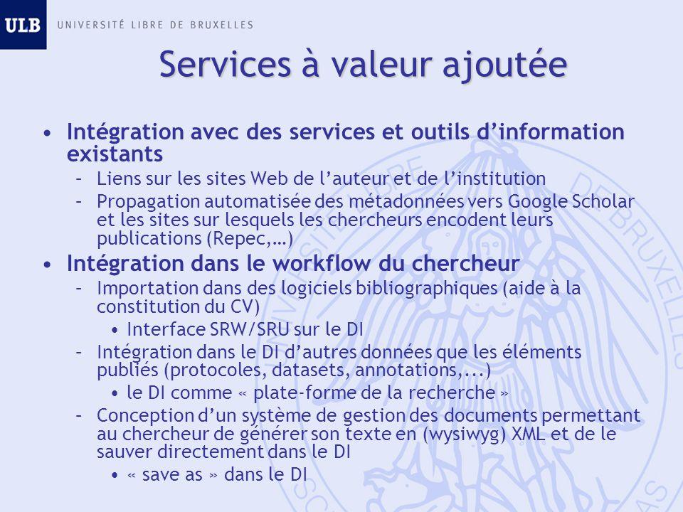 Services à valeur ajoutée Intégration avec des services et outils dinformation existants –Liens sur les sites Web de lauteur et de linstitution –Propa