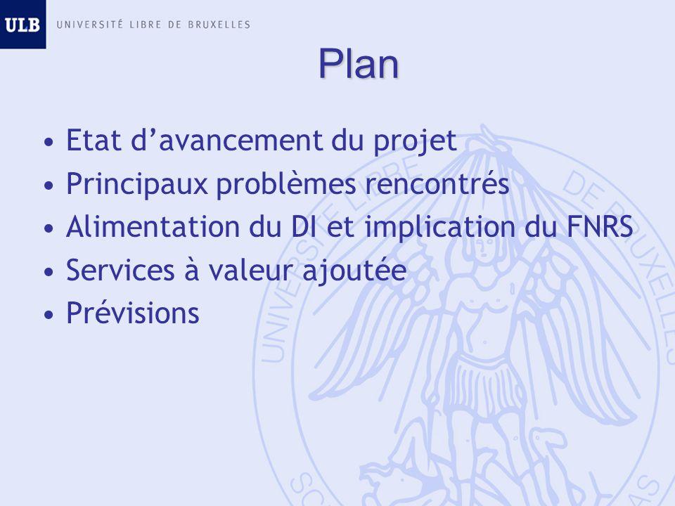 Plan Etat davancement du projet Principaux problèmes rencontrés Alimentation du DI et implication du FNRS Services à valeur ajoutée Prévisions
