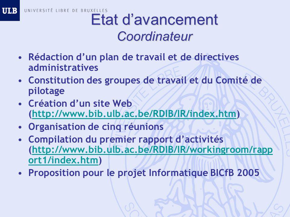 Etat davancement Coordinateur Rédaction dun plan de travail et de directives administratives Constitution des groupes de travail et du Comité de pilotage Création dun site Web (http://www.bib.ulb.ac.be/RDIB/IR/index.htm)http://www.bib.ulb.ac.be/RDIB/IR/index.htm Organisation de cinq réunions Compilation du premier rapport dactivités (http://www.bib.ulb.ac.be/RDIB/IR/workingroom/rapp ort1/index.htm)http://www.bib.ulb.ac.be/RDIB/IR/workingroom/rapp ort1/index.htm Proposition pour le projet Informatique BICfB 2005