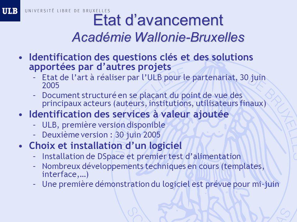 Etat davancement Académie Wallonie-Bruxelles Identification des questions clés et des solutions apportées par dautres projets –Etat de lart à réaliser