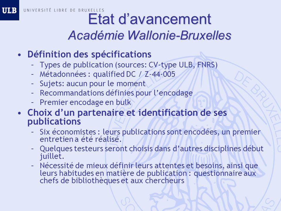 Etat davancement Académie Wallonie-Bruxelles Définition des spécifications –Types de publication (sources: CV-type ULB, FNRS) –Métadonnées : qualified
