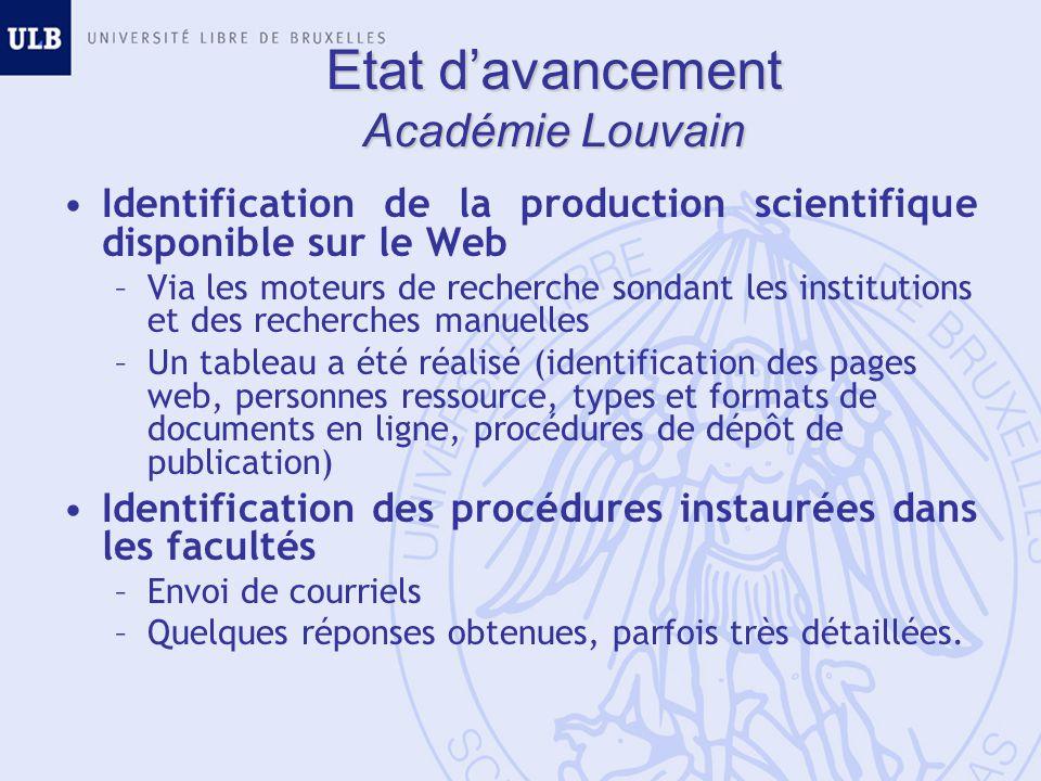 Etat davancement Académie Louvain Identification de la production scientifique disponible sur le Web –Via les moteurs de recherche sondant les institu