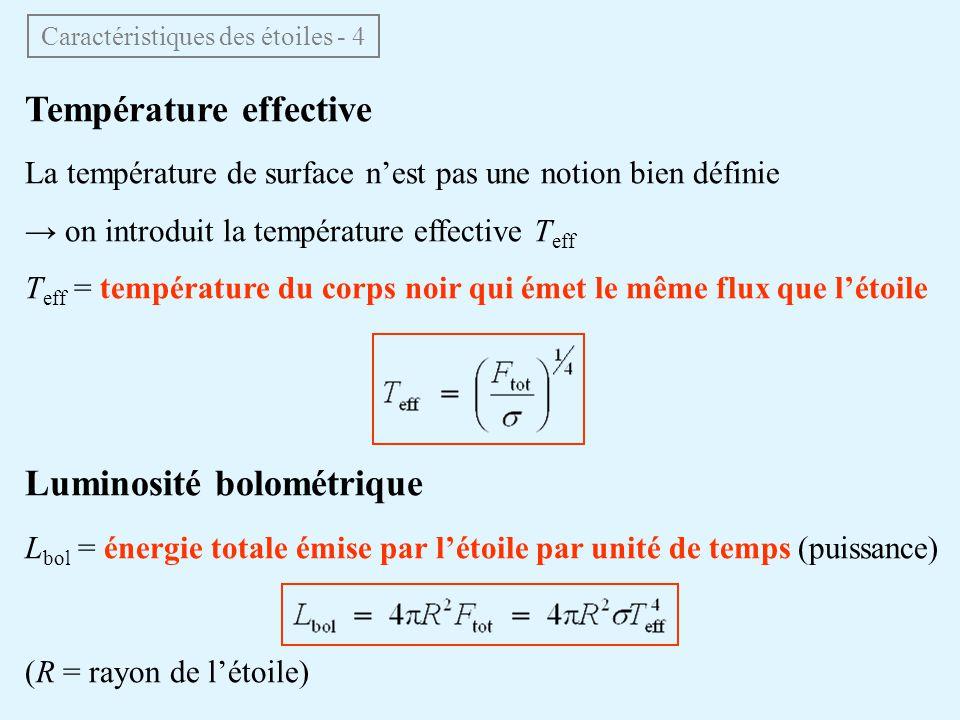 Température effective La température de surface nest pas une notion bien définie on introduit la température effective T eff T eff = température du corps noir qui émet le même flux que létoile Luminosité bolométrique L bol = énergie totale émise par létoile par unité de temps (puissance) (R = rayon de létoile) Caractéristiques des étoiles - 4