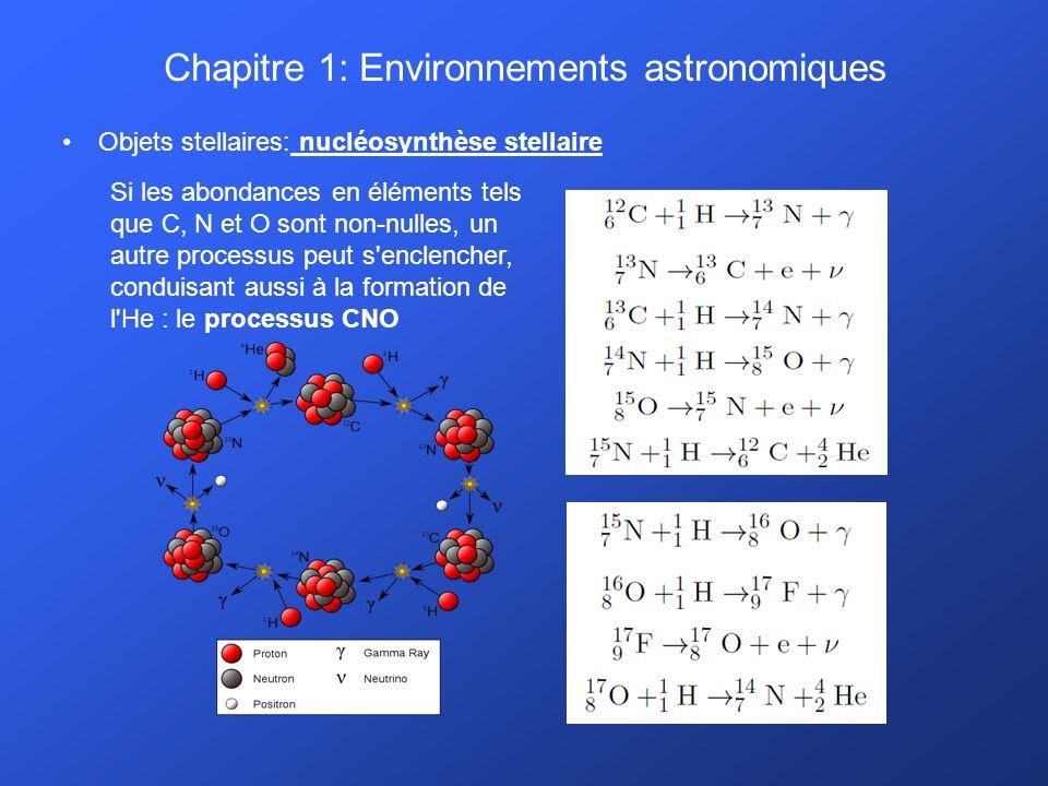 Chapitre 1: Environnements astronomiques Objets stellaires: nucléosynthèse stellaire Si les abondances en éléments tels que C, N et O sont non-nulles,