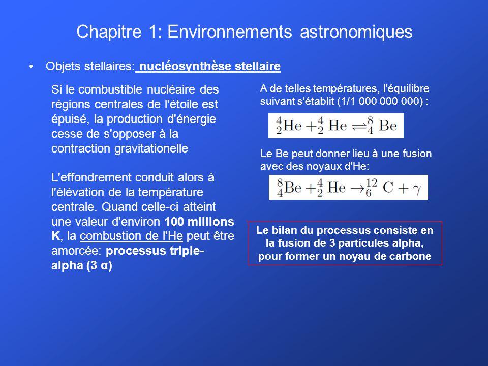 Chapitre 1: Environnements astronomiques Objets stellaires: nucléosynthèse stellaire Si le combustible nucléaire des régions centrales de l'étoile est