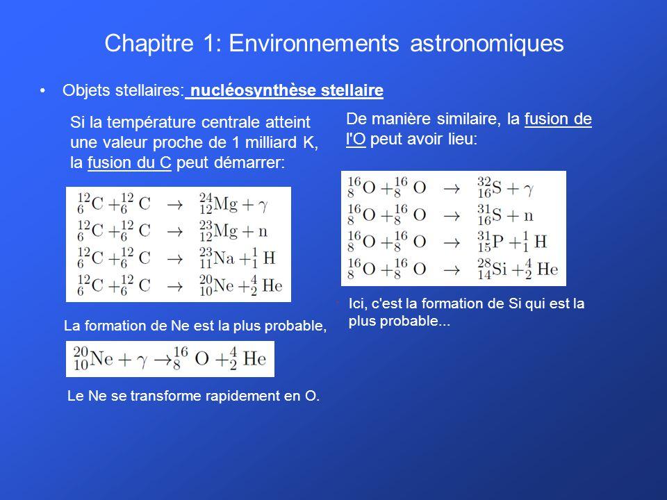 Chapitre 1: Environnements astronomiques Objets stellaires: nucléosynthèse stellaire Si la température centrale atteint une valeur proche de 1 milliar