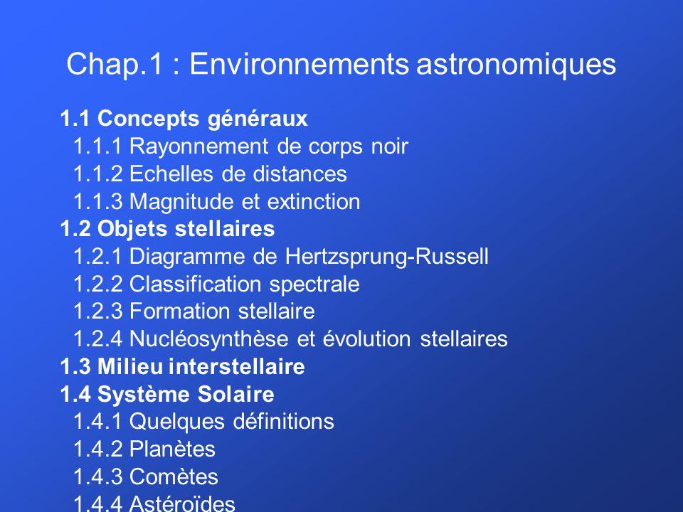 Chapitre 1: Environnements astronomiques Objets stellaires: formation stellaire La matière d un nuage moléculaire constitue la matière première pour former les étoiles Une relation d évolution peut être établie entre les différents types d objets protostellaires En première approximation, le spectre d émission des objets protostellaires peut être interprété en termes d émission de corps noir associé à l étoile en formation, et d une composante additionnelle due à la matière circumstellaire associée.