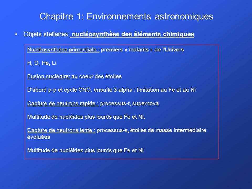 Chapitre 1: Environnements astronomiques Objets stellaires: nucléosynthèse des éléments chimiques. Nucléosynthèse primordiale : premiers « instants »
