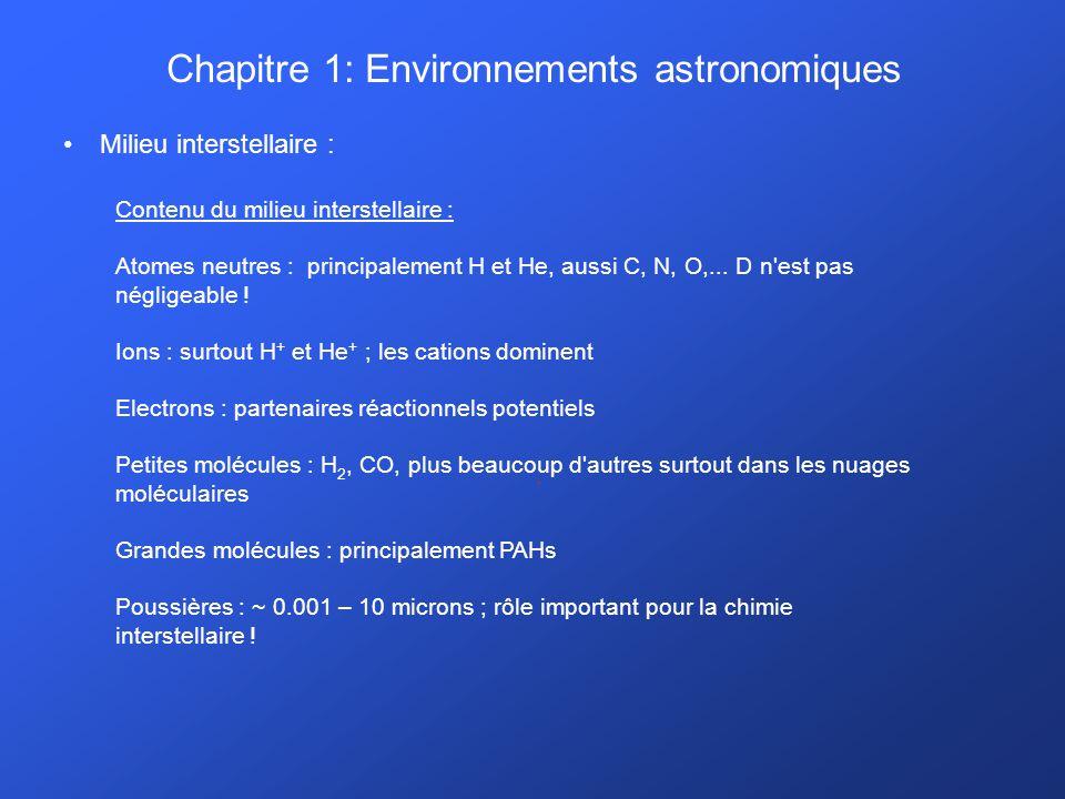 Chapitre 1: Environnements astronomiques Milieu interstellaire :. Contenu du milieu interstellaire : Atomes neutres : principalement H et He, aussi C,