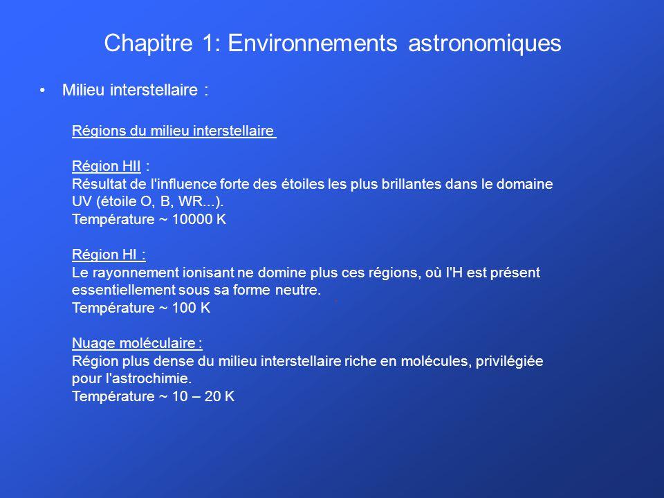 Chapitre 1: Environnements astronomiques Milieu interstellaire :. Régions du milieu interstellaire Région HII : Résultat de l'influence forte des étoi