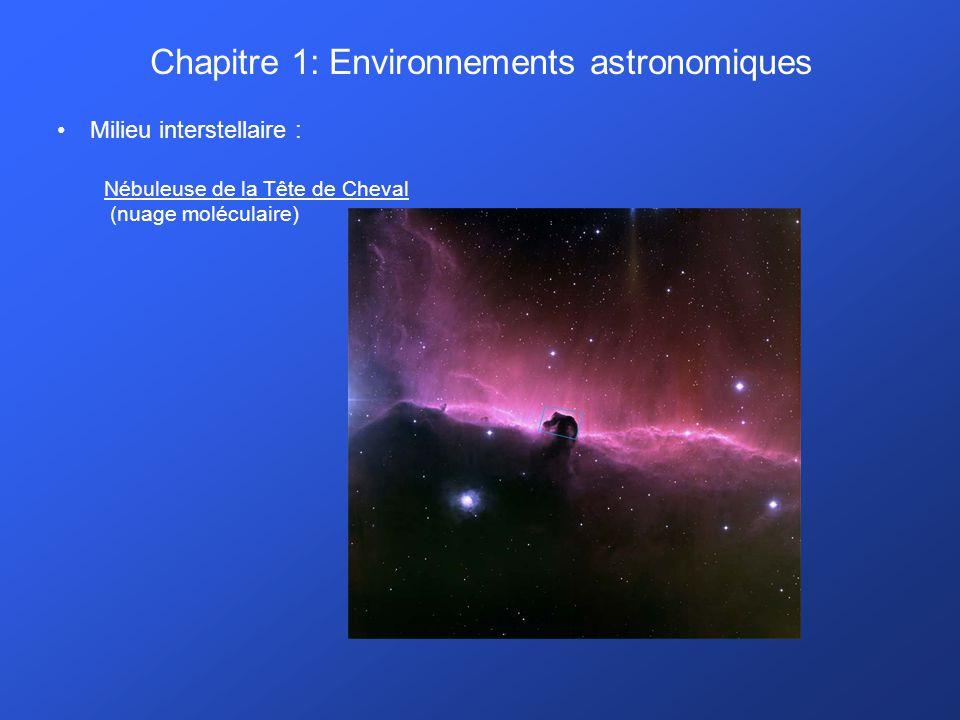 Chapitre 1: Environnements astronomiques Milieu interstellaire :. Nébuleuse de la Tête de Cheval (nuage moléculaire)