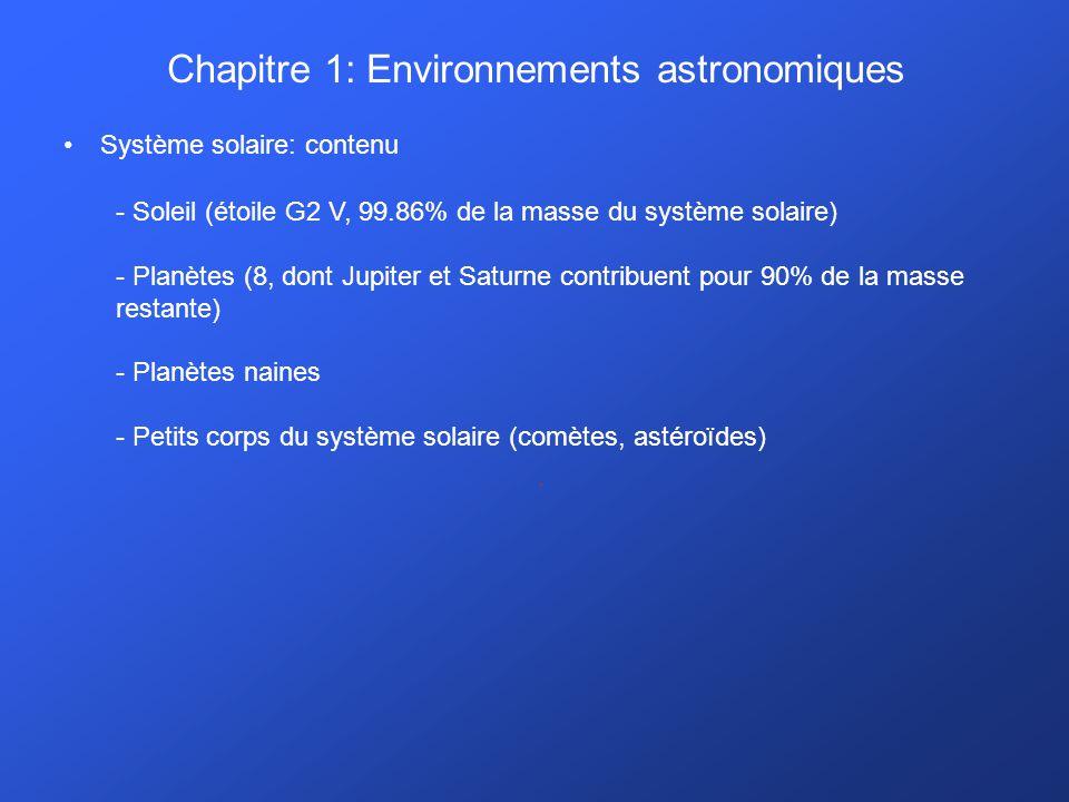Chapitre 1: Environnements astronomiques Système solaire: contenu. - Soleil (étoile G2 V, 99.86% de la masse du système solaire) - Planètes (8, dont J