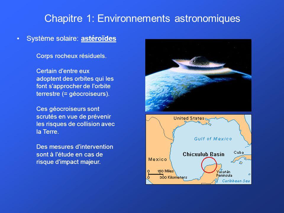 Chapitre 1: Environnements astronomiques Système solaire: astéroïdes. Corps rocheux résiduels. Certain d'entre eux adoptent des orbites qui les font s
