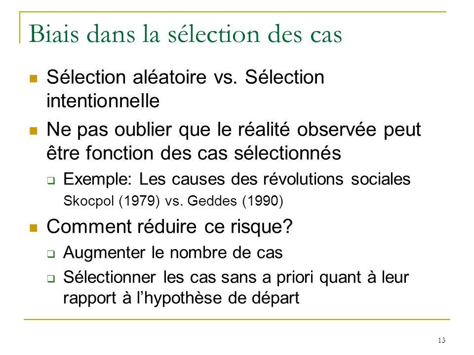 13 Biais dans la sélection des cas Sélection aléatoire vs. Sélection intentionnelle Ne pas oublier que le réalité observée peut être fonction des cas