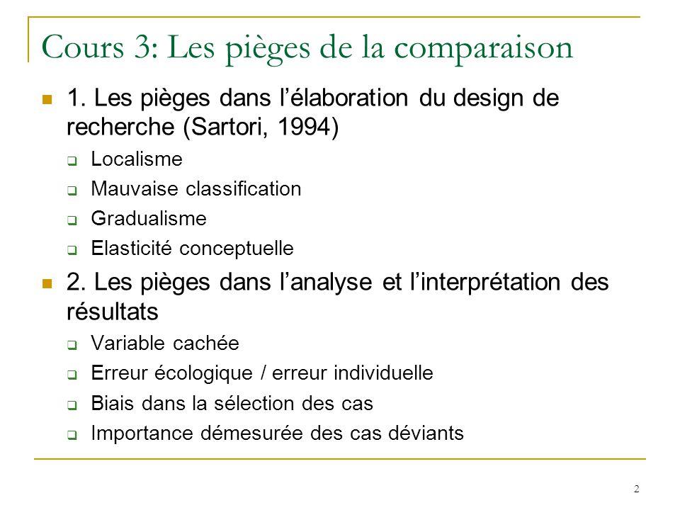 2 Cours 3: Les pièges de la comparaison 1. Les pièges dans lélaboration du design de recherche (Sartori, 1994) Localisme Mauvaise classification Gradu
