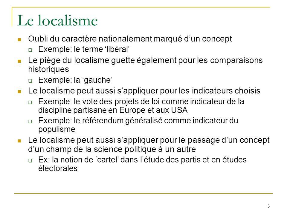 3 Le localisme Oubli du caractère nationalement marqué dun concept Exemple: le terme libéral Le piège du localisme guette également pour les comparais