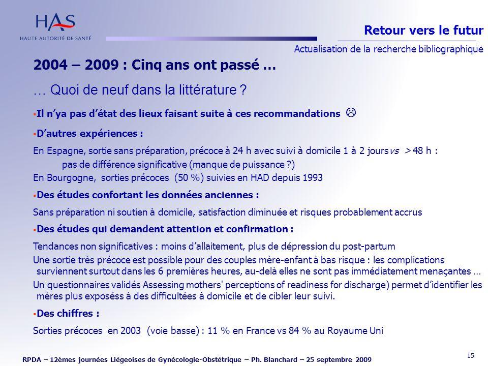 15 2004 – 2009 : Cinq ans ont passé … … Quoi de neuf dans la littérature ? Il nya pas détat des lieux faisant suite à ces recommandations Dautres expé