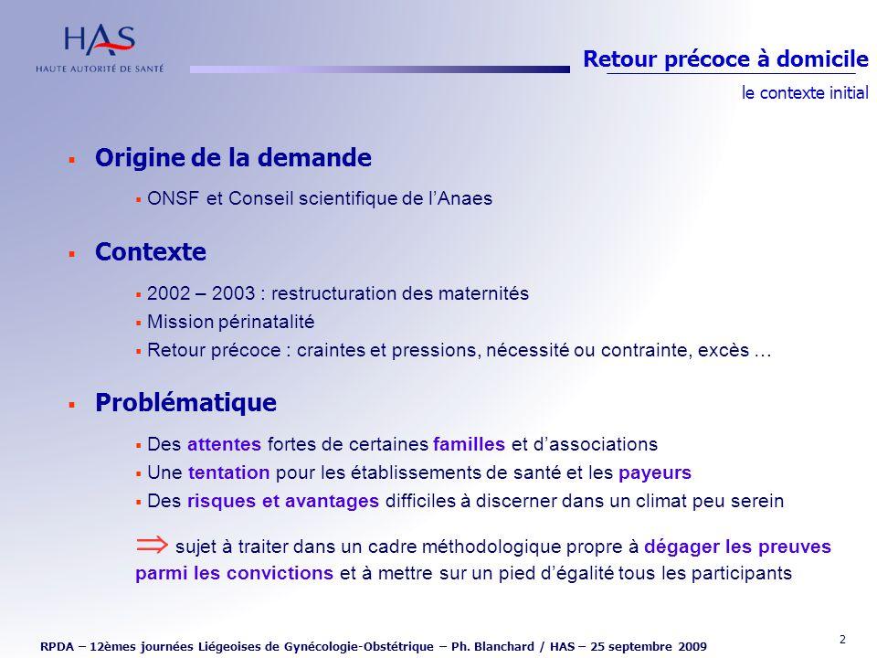2 Origine de la demande ONSF et Conseil scientifique de lAnaes Contexte 2002 – 2003 : restructuration des maternités Mission périnatalité Retour préco