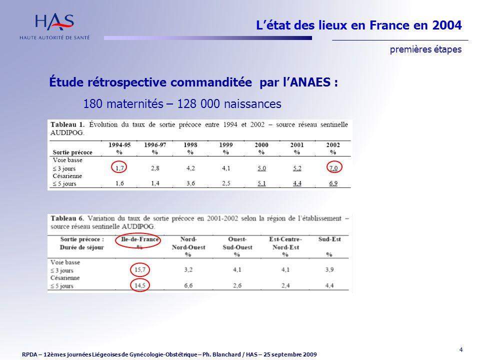 4 Étude rétrospective commanditée par lANAES : 180 maternités – 128 000 naissances Létat des lieux en France en 2004 premières étapes RPDA – 12èmes jo