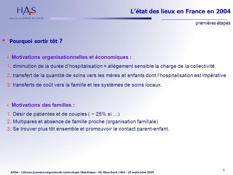 6 Létat des lieux en France en 2004 premières étapes Motivations organisationnelles et économiques : 1. diminution de la durée dhospitalisation = allè