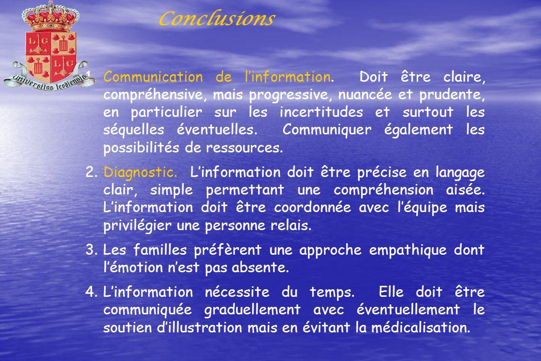 Conclusions 1.Communication de linformation. Doit être claire, compréhensive, mais progressive, nuancée et prudente, en particulier sur les incertitud