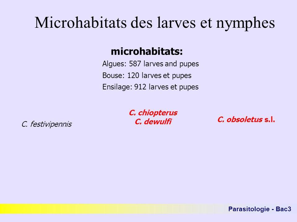 Microhabitats des larves et nymphes microhabitats: C. festivipennis C. chiopterus C. dewulfi C. obsoletus s.l. Algues: 587 larves and pupes Bouse: 120
