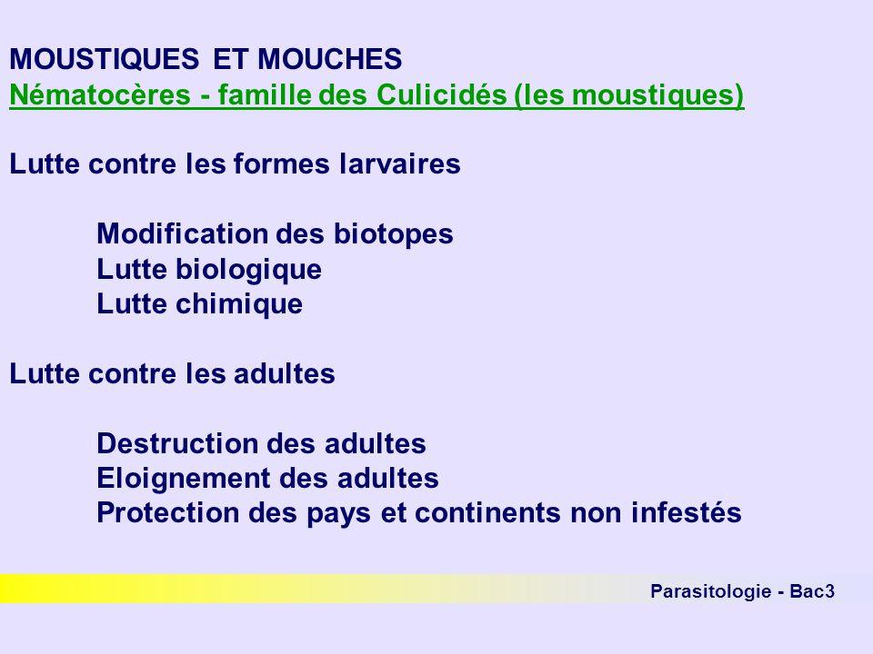Parasitologie - Bac3 MOUSTIQUES ET MOUCHES Nématocères - famille des Culicidés (les moustiques) Lutte contre les formes larvaires Modification des bio