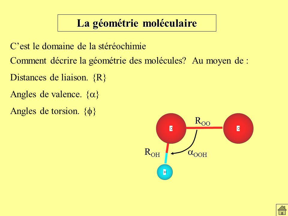Distances de liaison.{R} Angles de valence. { } Angles de torsion.