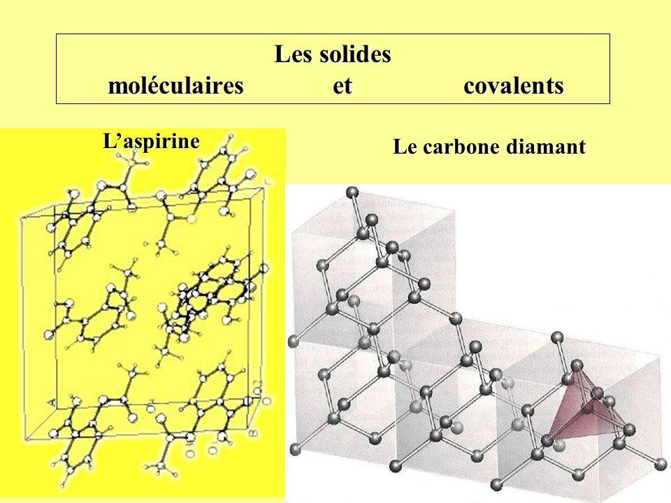 Le carbone diamant Laspirine Les solides moléculaires et covalents Solide moléculaire/covalent