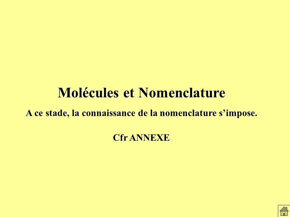 Molécules et Nomenclature A ce stade, la connaissance de la nomenclature simpose.