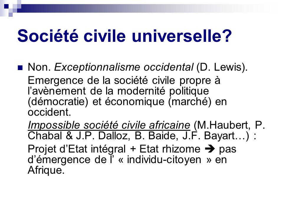 Société civile universelle.Non. Exceptionnalisme occidental (D.