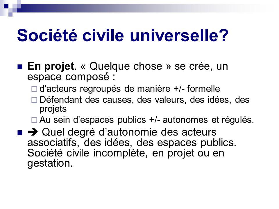 Société civile universelle.En projet.