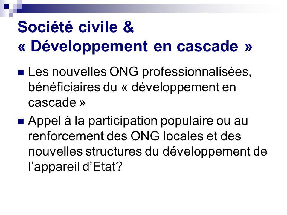 Société civile & « Développement en cascade » Les nouvelles ONG professionnalisées, bénéficiaires du « développement en cascade » Appel à la participation populaire ou au renforcement des ONG locales et des nouvelles structures du développement de lappareil dEtat?
