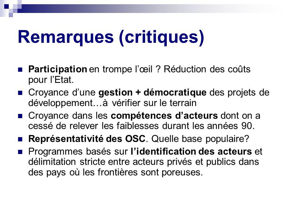 Remarques (critiques) Participation en trompe lœil .