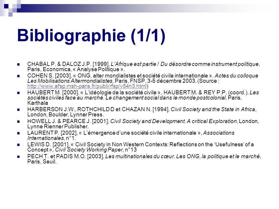 Bibliographie (1/1) CHABAL P.& DALOZ J.P. [1999], LAfrique est partie .