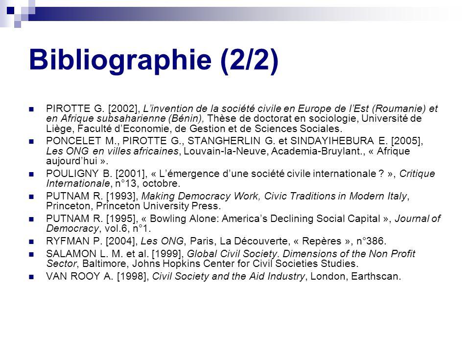 Bibliographie (2/2) PIROTTE G.