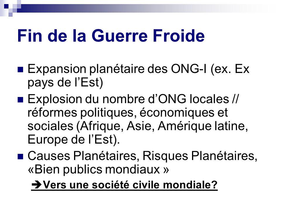 Société civile globalisée : deux pôles « Pôle ONG » : basé sur le fourmillement associatif local sous format ONG et lextension planétaire des ONG-I.